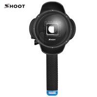 4 inç LCD Güneşlik Dome Port için GoPro Hero 4 3 +/4 HERO4 Gümüş Siyah Şamandıra Bobber Kavrama ile LCD Vaka Git Pro aksesuar