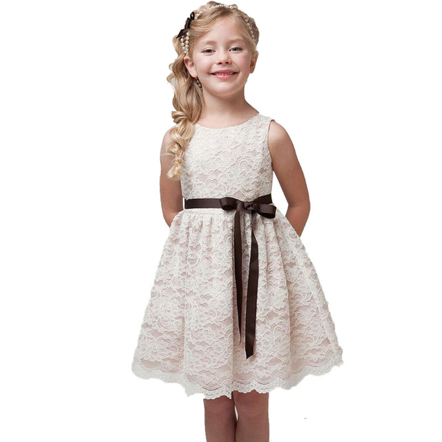 Lace Princess Girl Clothes Communion Dress Little Bridesmaid Wedding  Pageant Dresses Elegant Evening Party White Girls Clothes 35059105684b