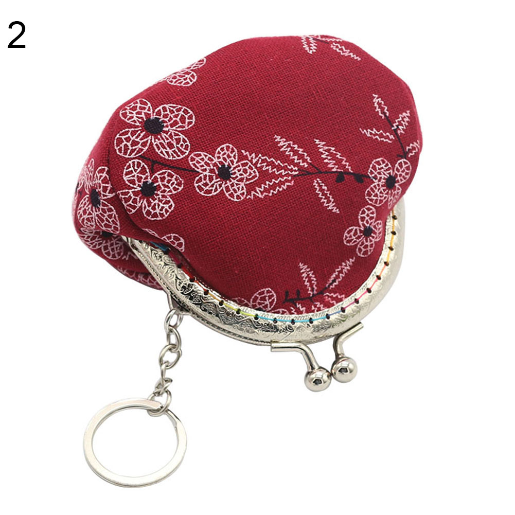 Vintage Lady Girl Small Canvas Flower Kiss Lock Coin Purse Keychain Wallet Gift