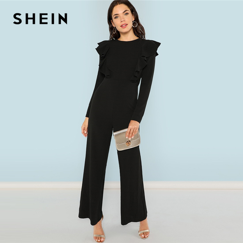 SHEIN Black Round Neck Plain   Jumpsuit   Elegant Mid Waist Wide Leg Maxi   Jumpsuits   Women Autumn Ruffle Trim Palazzo   Jumpsuit