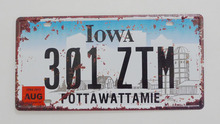 1 pc Lowa tin sign plate US American car license plaques man cave garage  vintage retro shabby decor shop