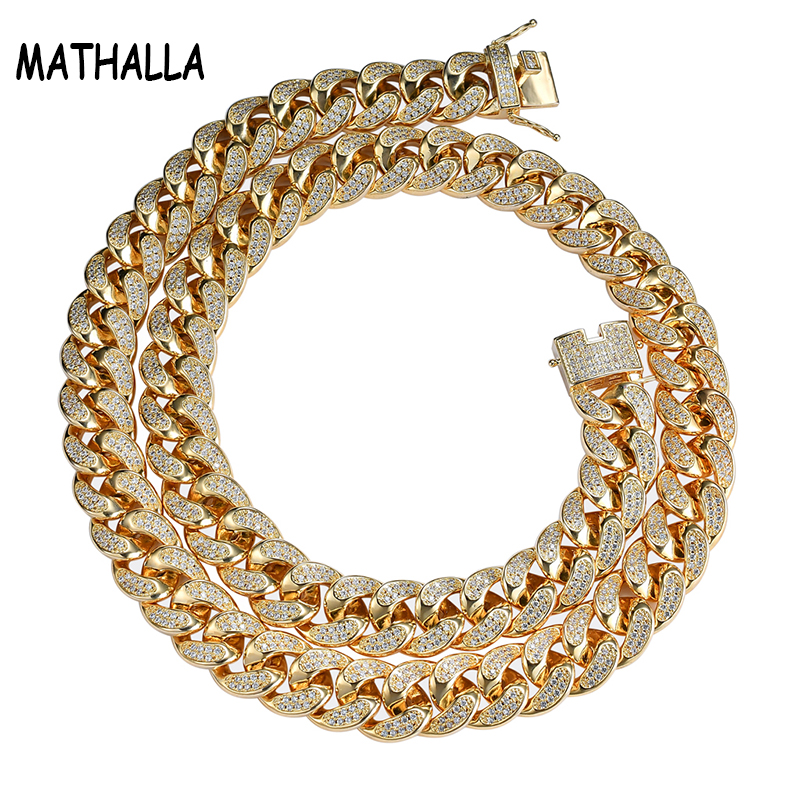 Hiphop New Style Male Cubic Zircon Micro Paved Gold Color Bling All Iced Out Jewelry Cuban Chain 17mm Width Necklace