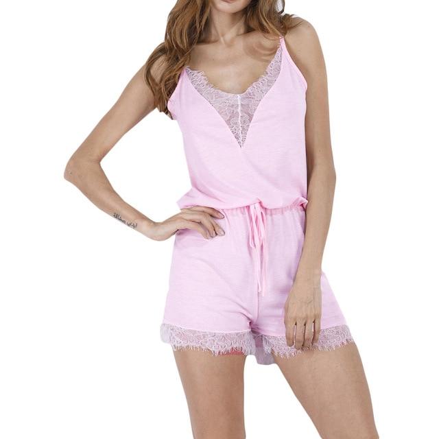 2018 Women s Lace Silk Satin Pajamas Sets 2017 New Design Short Pants  Pyjamas Sets V- ce6725743