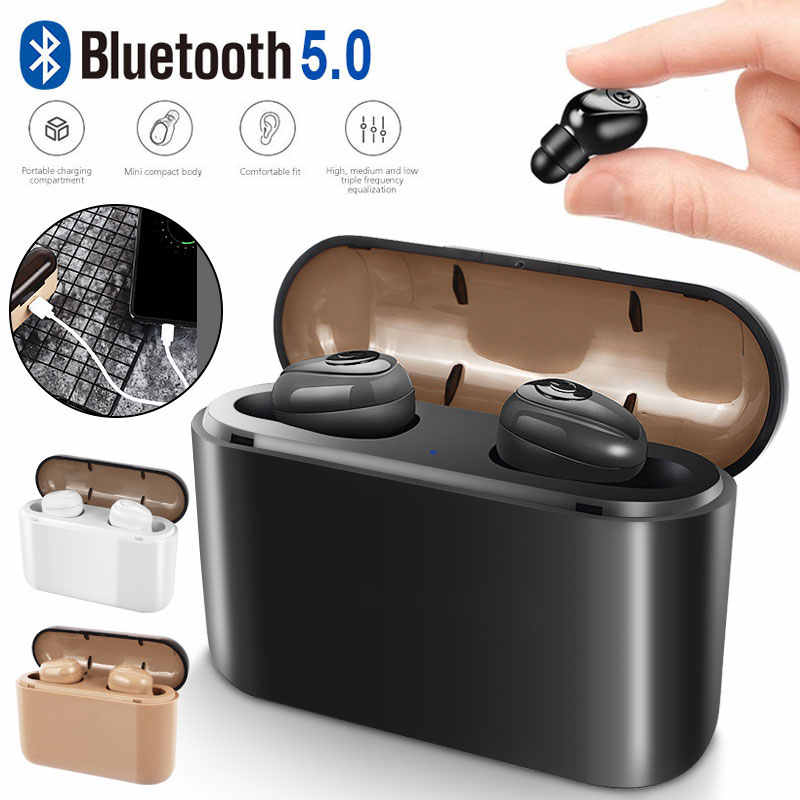 X8s Bluetooth Earphone 5.0 TWS Invisible Mini Wireless Earphone Bass Earbuds Headset with 1200/2200 mAh charging Box power Bank