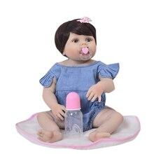 KEIUMI 23 אינץ מלא גוף סיליקון Reborn בובות תינוק ילד למשחק מציאותי 57cm נסיכת בובת ג ינס סרבל Reborn Boneca מתנה