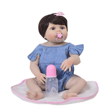 KEIUMI 23 인치 전신 실리콘 Reborn Baby Dolls Kid Playmates 현실적인 57cm Princess Doll 데님 점프 슈트 Reborn Boneca Gift