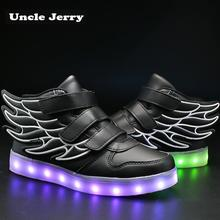 UncleJerry Kids Light up Shoes with wing Children Led Shoes