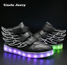 UncleJerry dzieci światło się buty z skrzydła dzieci Buty LED Boys Girls świecące sneakers USB ładowanie Boy Fashion Shoes tanie tanio buty na co dzień Zaczep pętli Syntetycznych 6T 9T 24M 8T 26M 28M 12T 11T 35M 10T 13T 3T 32M 14T 5T 31M 25M 30M 27M 29M 7T 4T 34M 14T 33M