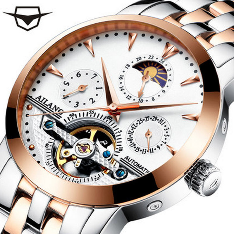 AILANG new men's leather wrist watch original luxury large brand big automatic sports fashion mechanical watches men's original binger mans automatic mechanical wrist watch date display watch self wind steel with gold wheel watches new luxury