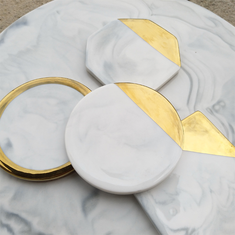 1 Styles Dali Marble Cup Mat Gold Marble Coaster Cup Mat Round Square Octagon Placemat Pad Holder Mug Coaster Table Placemat 1