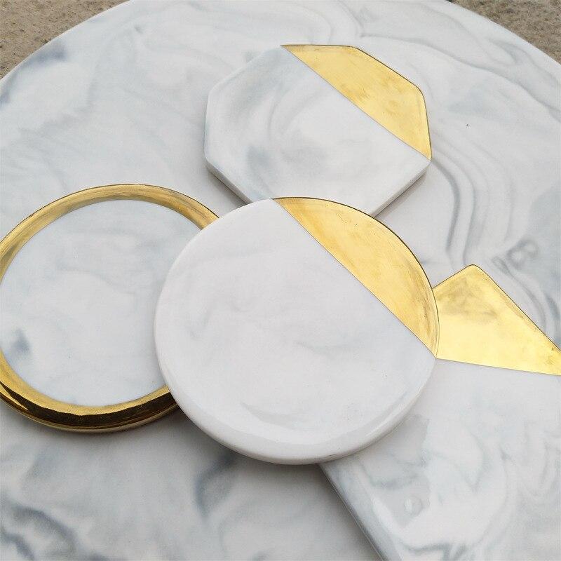 1 arten Dali Marmor Tasse Matte Gold Marmor Bahn Tasse Matte Runde Platz Octagon Tischset Pad Halter Becher Untersetzer Tisch tischset