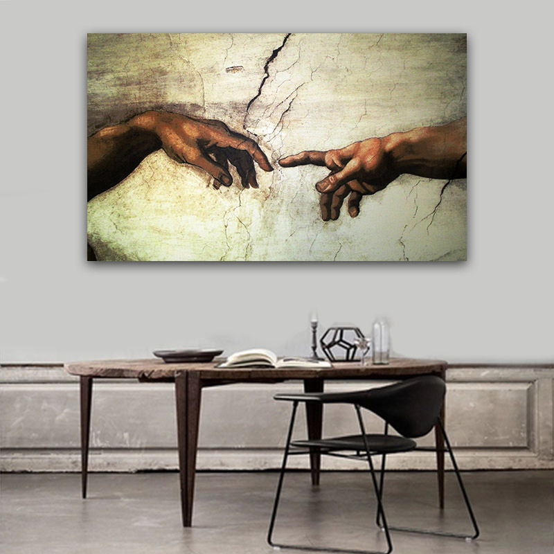 Creation of Adam Hand of god prints Religion wall painting ...