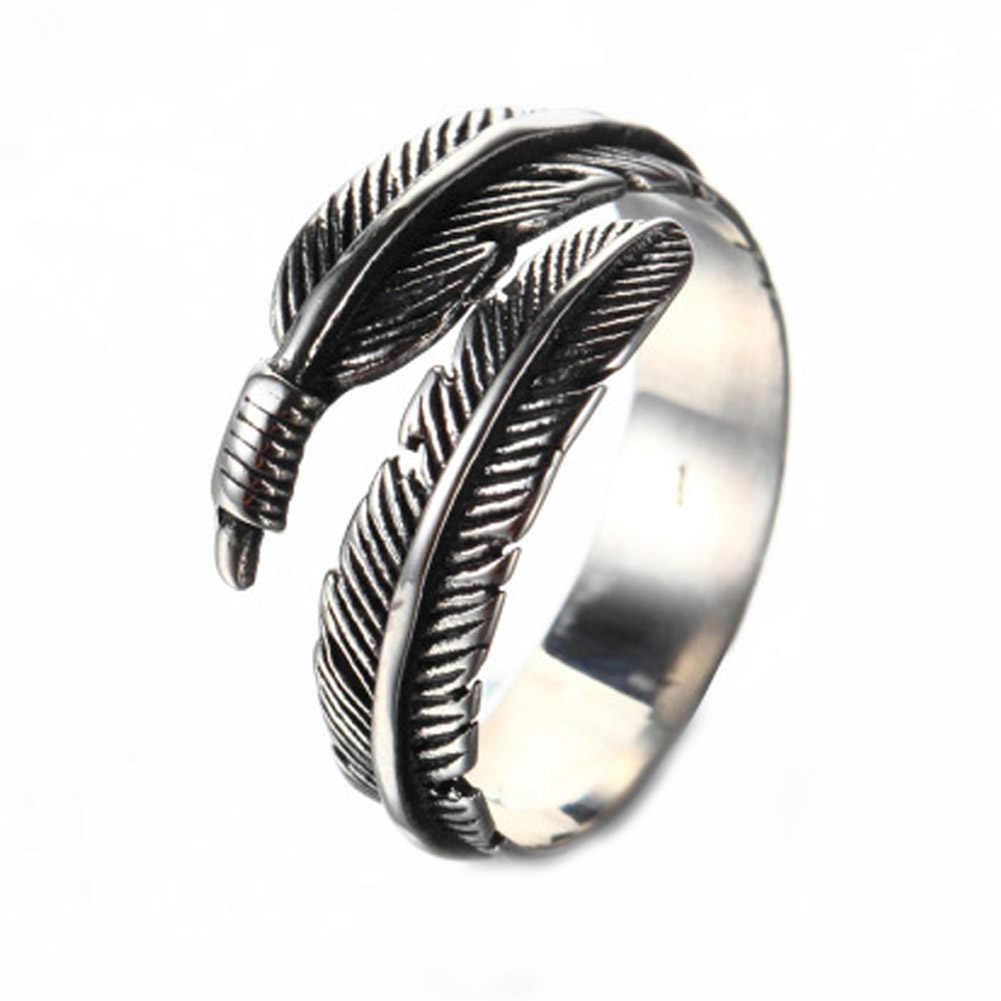 Тайский с серебряным покрытием сделать старый Перо открытым Кольца для Для женщин древних Стиль Леди предотвратить аллергия с серебряным покрытием ювелирные изделия