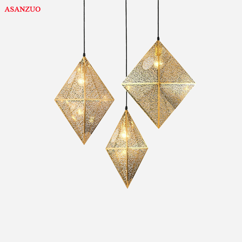 Postmodern stainless steel polyhedron pendant lights creative personality fashion bedroom restaurant bar cafe pendant lamp modern furniture pendant lights bedroom bedside personality bar creative restaurant iron blue yellow green pendant 1 3 fg466