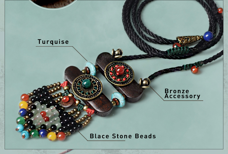 UTB8kN2tC9nEXKJk43Ubq6zLppXaL - Boho Necklace Women Ethnic stone maxi long Necklace black bohemian Pendant Necklace vintage rope chain fashion jewelry