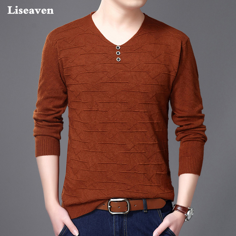 Liseaven Brand Casual Sweater V Neck Knitting Mens Sweaters Pullovers Men Pullover Men