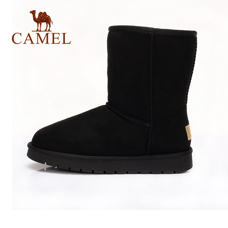CAMEL 2018 Women Boots Winter Furry Flat Snow Boot New Sample Solid Color Heel Keep Warm Plus Velvet Shoes For Girls цена