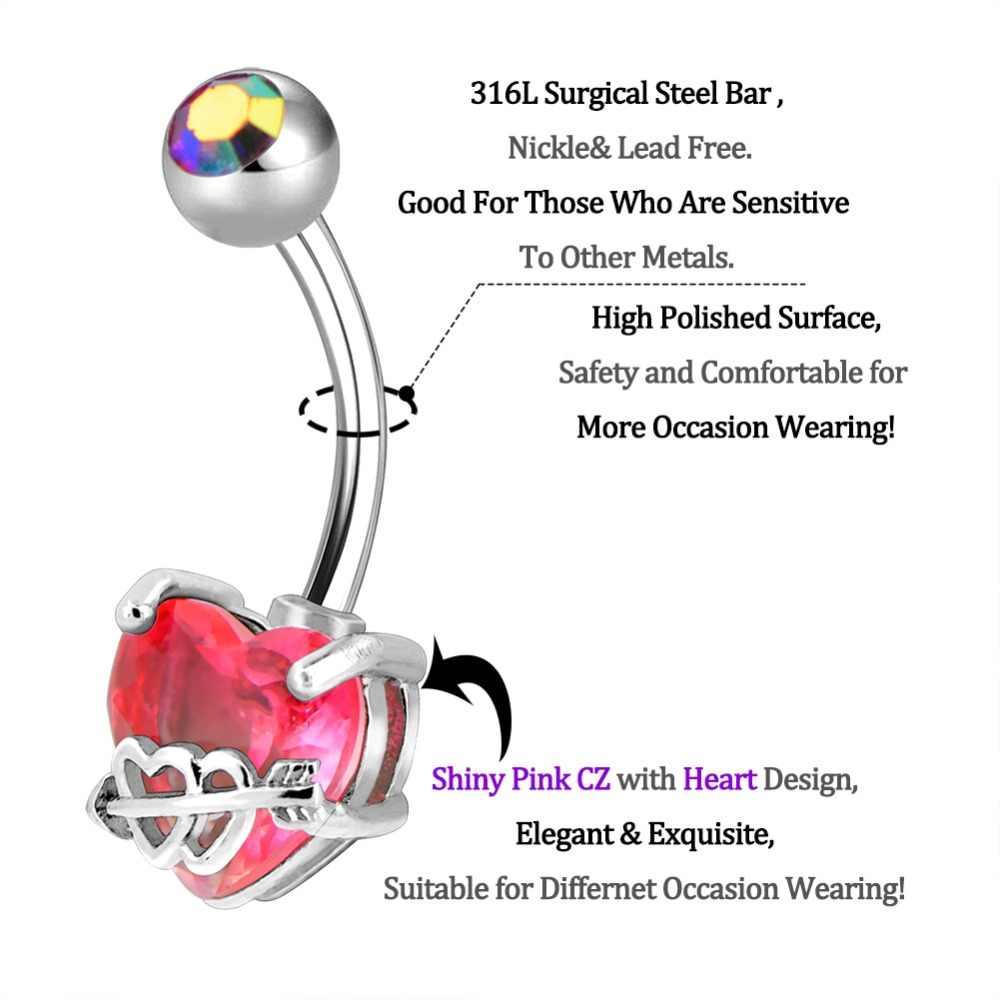 Piercings del Ombligo del cuerpo PUNK corazón Piercings del Ombligo 14G Acero inoxidable Piercing del Ombligo Bar Helix joyería del cuerpo Ombligo mujeres