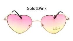 심장 모양의 선글라스 여성 핑크 프레임 금속 반사 미러 렌즈 패션 럭셔리 태양 안경 브랜드 디자이너 여성
