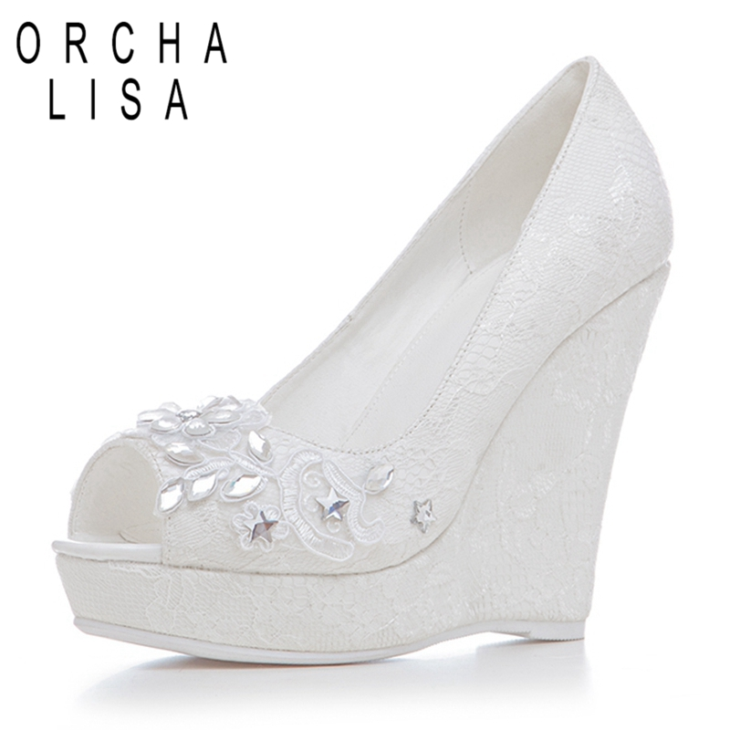 ORCHA LISA Brand Famous Lace Crystal Rhinestone High Heels Wedges Women Shoes Peep Toe Platform Party Pumps Wedding Shoes J001 lasyarrow brand shoes women pumps 16cm high heels peep toe platform shoes large size 30 48 ladies gladiator party shoes rm317