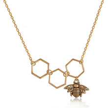 "8Seasons Necklace Gold Color & Gold Tone Antique Gold Honeycomb Bee Hollow Pendant Creative Necklace 48cm(18 7/8"") long, 1 Piece(China)"