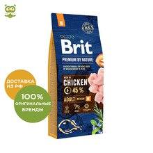 Корм Brit Premium by Nature Adult M для взрослых собак средних пород, Курица, 15 кг