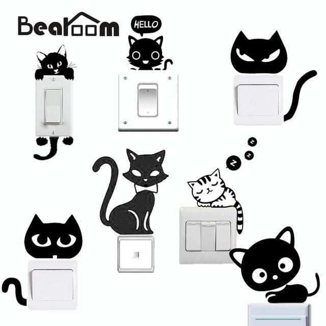 고양이 DIY 스위치 패널 스티커 사랑스러운 침실 평면 벽 스티커 이동식 Manul 방수 홈 장식 스티커 Adesivo 드에서 Parede