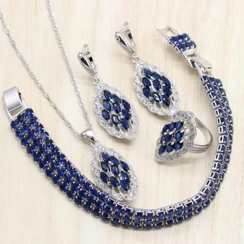 Magic Blue Stones 925 Silver Jewelry Sets Women Necklace Bracelets Pendant Wedding Rings Earrings Jewelery Free Gift Box