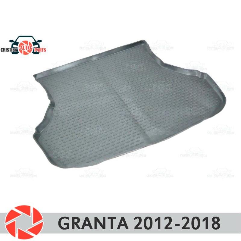 Para Lada Granta 2012-2018 Sedan Liftback mat tronco tapetes do assoalho antiderrapante poliuretano proteção sujeira interior do carro tronco styling