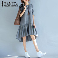 M 5XL ZANZEA Vintage Stripe Women Autumn O Neck Long Sleeve Cotton Linen Casual Ruffle Mini