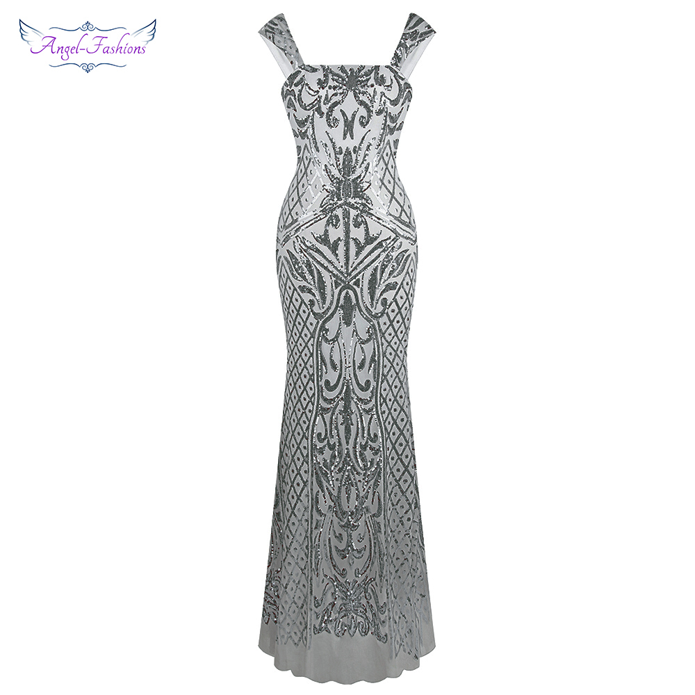 Angel fashions Women s Sleeveless Vintage Sequin Floral Pattern Lace Up Mermaid Long Evening Dress Gray
