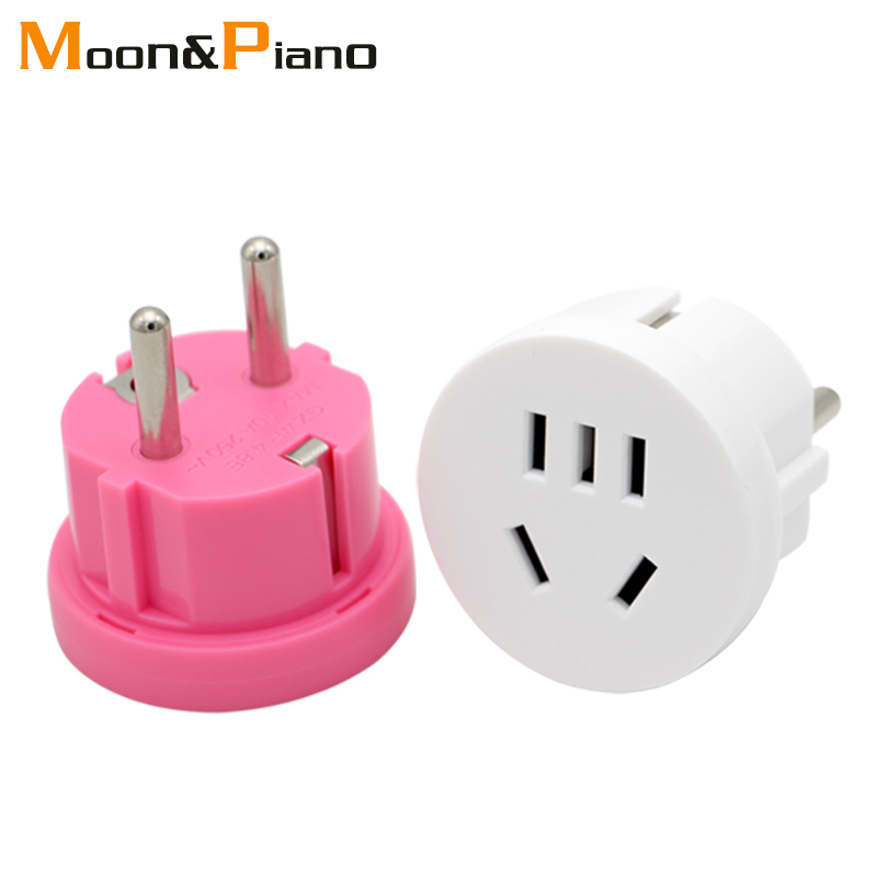 1PC US AU To EU Plug USA AUS To Euro Europe Travel Wall AC Power Plug Wall Charger Outlet Adapter Converter 2 Round Pin Socket