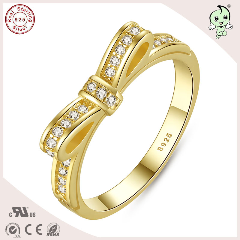P&R products Good Quality Fashion Gold 925 Real Silver Material Bowknot Wedding Ring for women