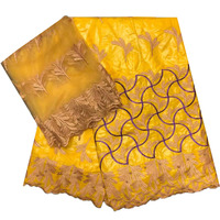 HFX 7 Yards Nigerian Wedding Lace Materials Beaded Latest Indian Embroidery Golden Lace Fabric Bazin Riche Getzner L95 5