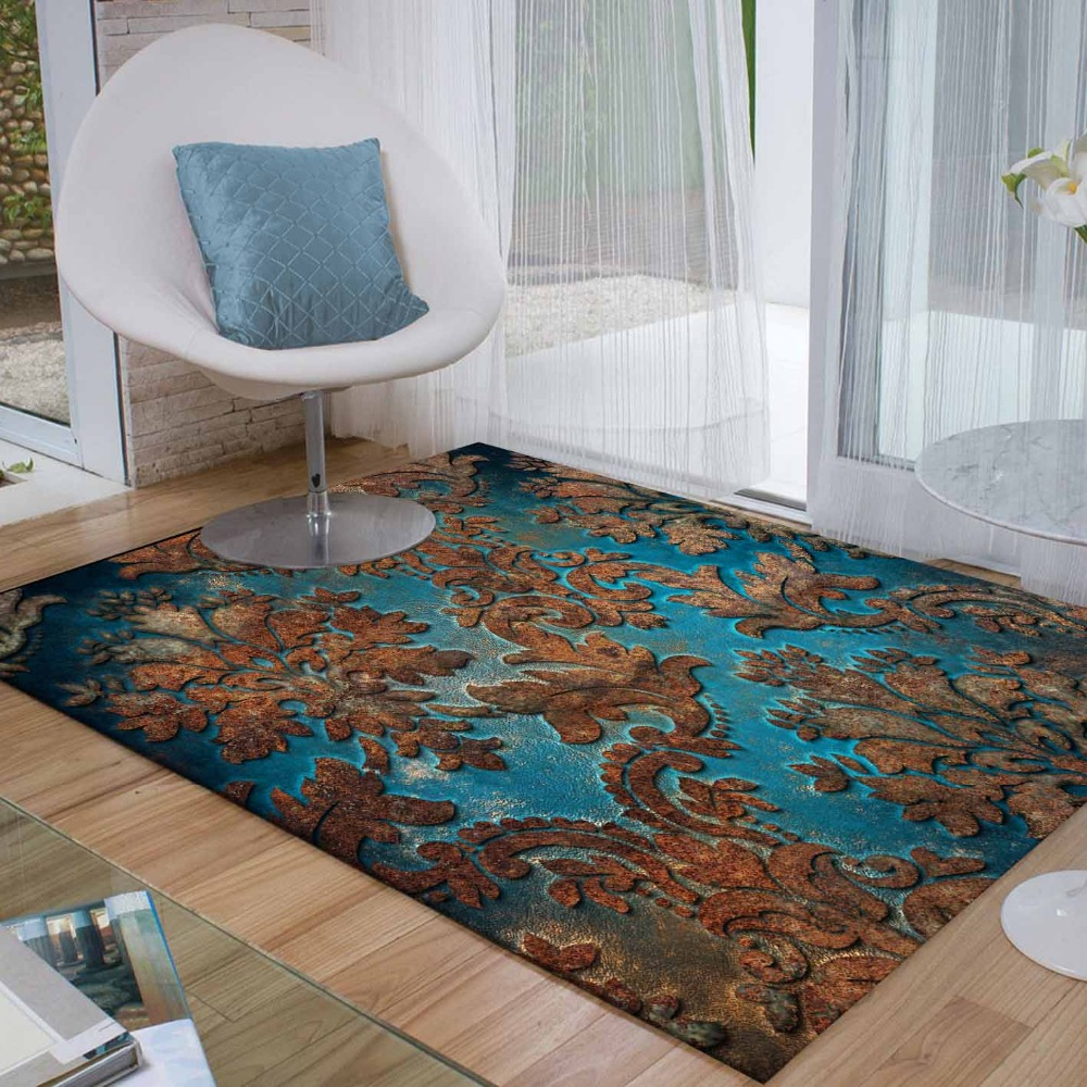 Else Green Brown Retro Turkish Aging Flower 3d Print Non Slip Microfiber Living Room Decorative Modern Washable Area Rug Mat