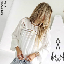 White Hollow-out Boho Blouses Womens Harajuku Long Sleeve Shirts Casual Streatwear Tops and 2019 New Spring