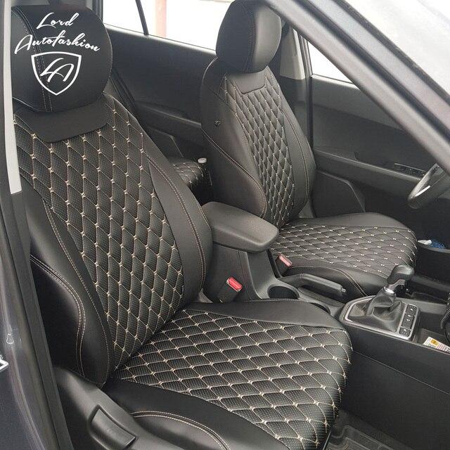 For Hyundai Creta 2016- Модельные авточехлы из экокожи (Модель Байрон)