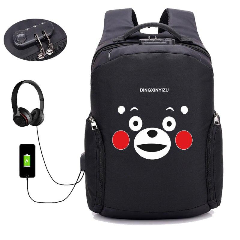 Anime mignon dessin animé Kumamon sac à dos USB trou externe sac à dos école étudiant livre sac unisexe garçon filles épaule sac à dos