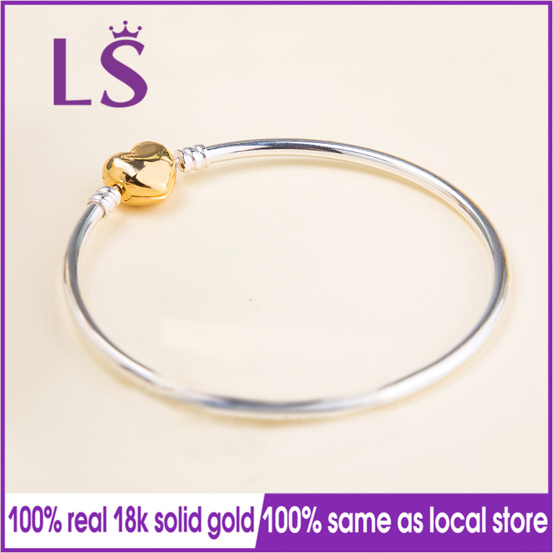 LS 2018 New Arrivals Real 100% Gold Moments Silver Bangle, Shine Logo Heart Bangle Fit Original Beads Charm Women Fine Jewelry beaded detail heart charm bangle