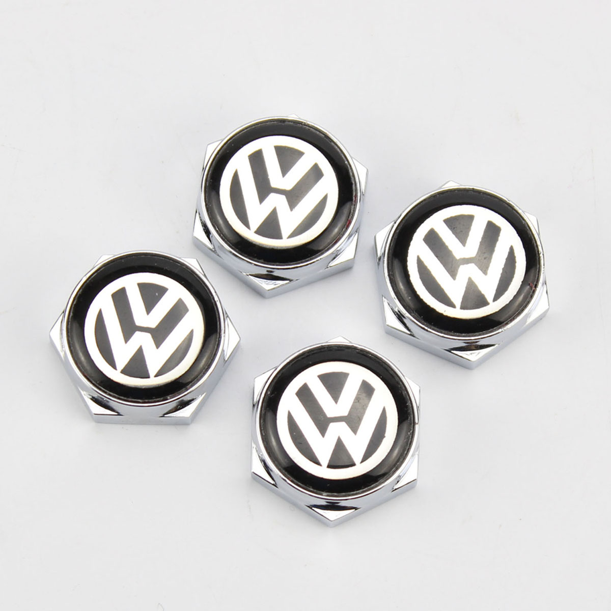 4pcs Stainless Steel Bolt License Plate Frame Screw Cap For VW Volkswagen Jetta Golf Passat
