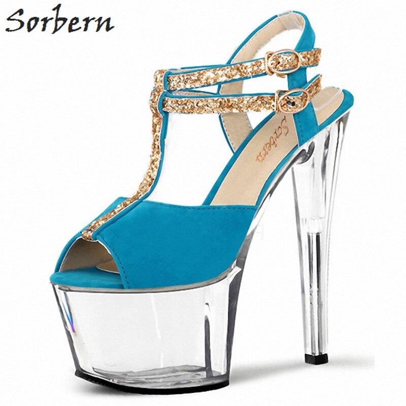 Chaussures Plate Sorbern Talon clair Femmes 42 forme Taille Hauts rose 17 Trasnparent Femme Cheville Sandale Talons Sandales bleu Rouge Black Bretelles Cm Confortables RptORnZ