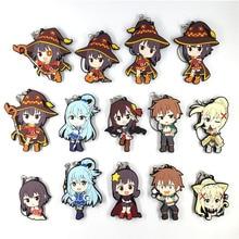 14pcs/lot Kono Subarashii Sekai ni Shukufuku wo Aqual Japanese anime rubber mobile phone charms keychain strap G1075