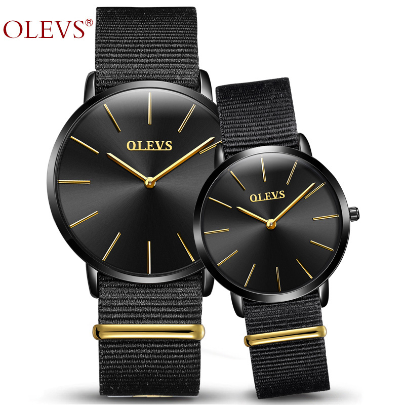 Lovers Watch OLEVS Fashion Nylon Quartz Valentine's Wristwatch Women Husband And Wife watches Hight Quality Couple Watch