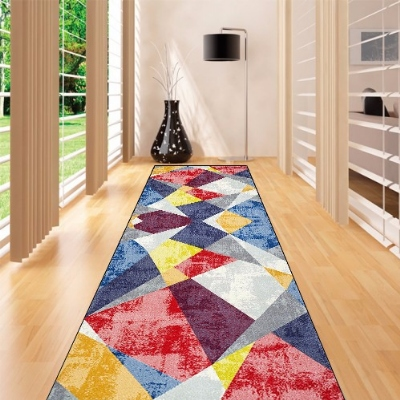 Else Red Blue Yellow Vintage Pacthwork Geo 3d Print Non Slip Microfiber Washable Long Runner Mats Floor Mat Rugs Hallway Carpets