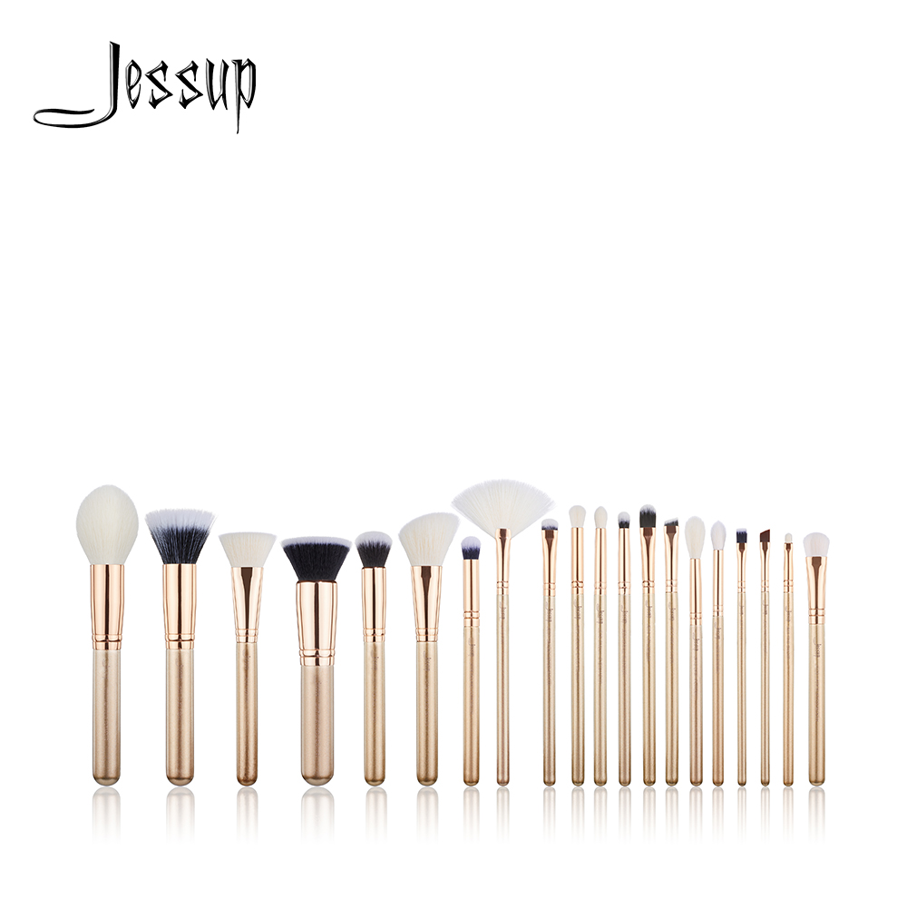NEW Jessup Brush 20PCS Golden/ Rose Gold Makeup brushes set Beauty tools Make up brush POWDER FOUNDATION LIP BLENDING new oval makeup brush set professional concealer foundation powder blending brushes toothbrush make up tools