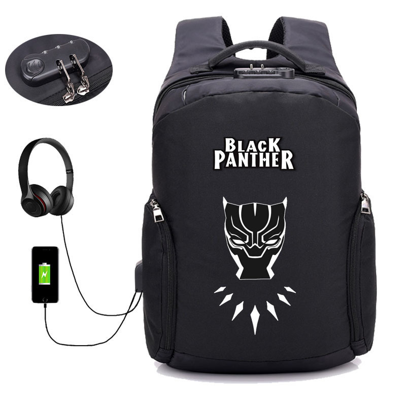 Anti theft USB Charging Backpack Black Panther backpack Men Laptop Backpack Teenagers Male Travel package