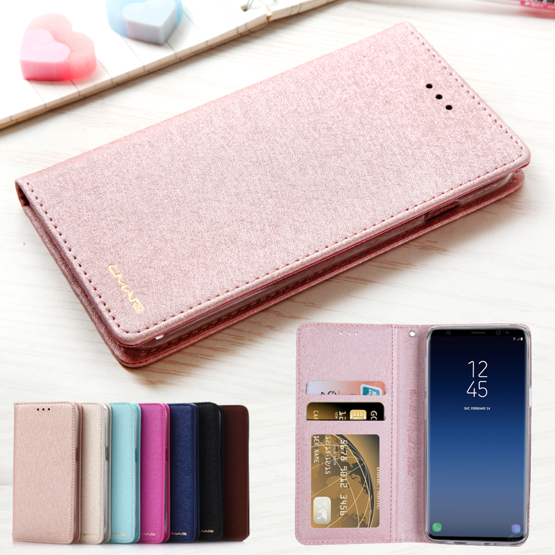 For Samsung S9 Case Silk Leather & Silicone Flip Cover For Galaxy S9 Plus Case With Stand Wallet Coque For Samsung S8 Plus Case
