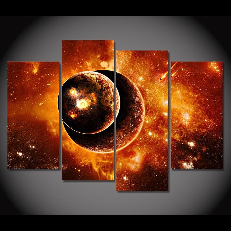 4 unidades enmarcado HD impreso planeta del universo de la fantasía ...