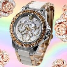 Часы женские водонепроницаемые с керамическим ремешком и кристаллами