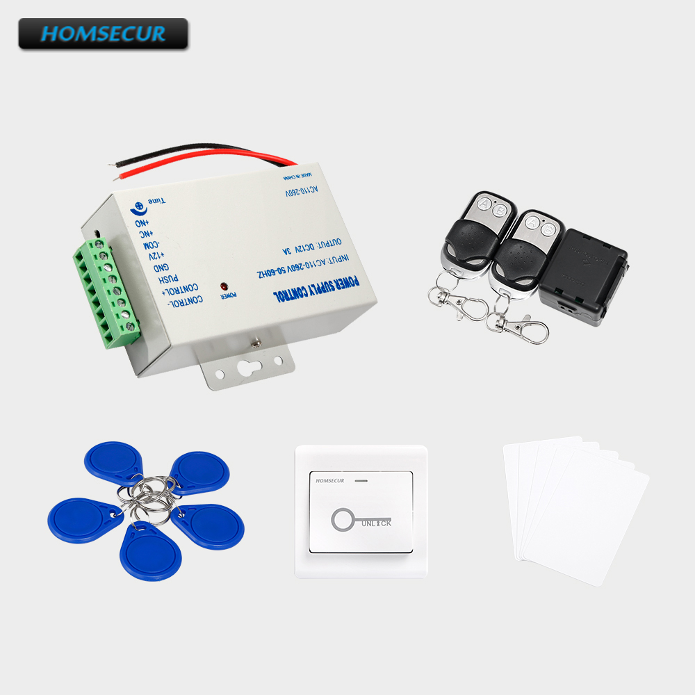HOMSECUR 5Pcs IC Keyfob+5Pcs IC Card+Exit Button+Power Supply+ Remote Controller 5pcs lot ic k9gag08u0e k9gag08uoe scbo k9gag08u0e scb0